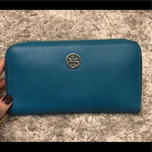Tory Burch Blue Robinson Zip Continental Wallet